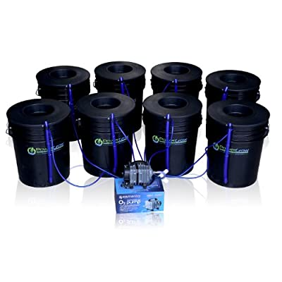 "Deep Water Culture (DWC) Hydroponic Bubbler 8 Bucket Kit with 6"" Lids by PowerGrow ® Systems"