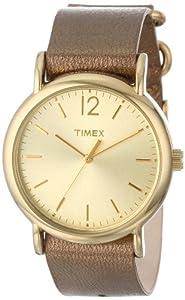 Timex Women's T2P3409J Weekender Metallic Bronze Slip-Thru Leather Strap Watch