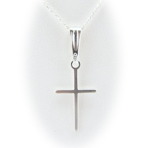 Sterling Silver Cross Pendant Diamond Cut Open Curb Chain Necklace for Child Italy 16 Inch