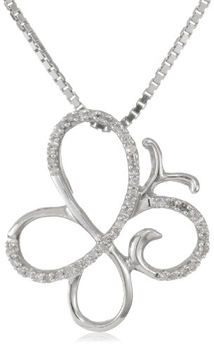 Sterling Silver Diamond Butterfly Pendant Necklace (1/10 cttw, I-J Color, I3 Clarity), 18