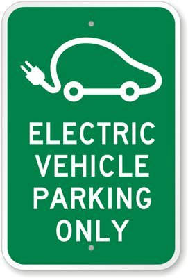 "Smartsign 3M Engineer Grade Reflective Sign, Legend ""Electric Vehicle Parking - Only While Charging"" With Graphic, 18"" High X 12"" Wide, Green On White"