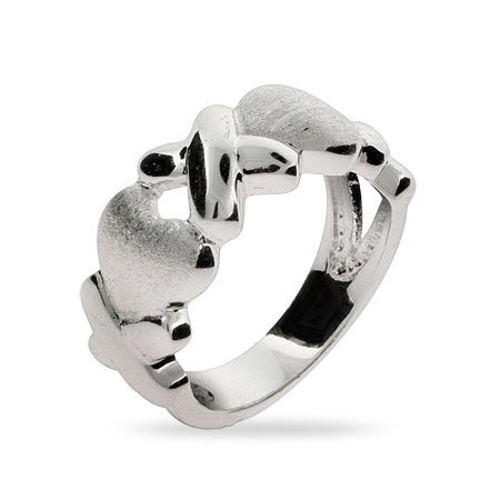 Sterling Silver Hugs and Kisses Ring Size 5 (Sizes 5 6 7 8 9 10 Available)