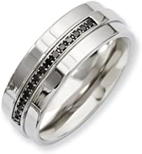 Chisel Stainless Steel Polished amp Black Diamonds 8mm Band