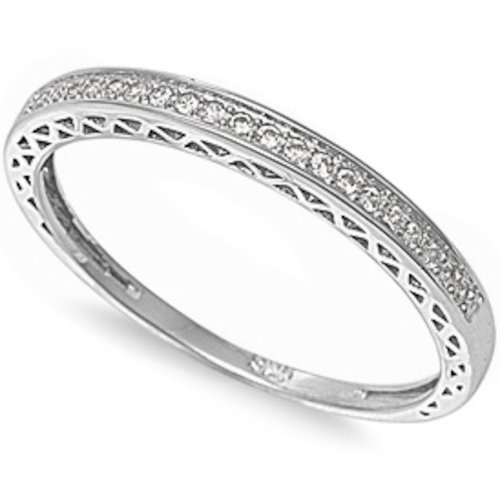 Antique Style Pave Set Round Wedding Band .925 Sterling Silver Ring Size 8