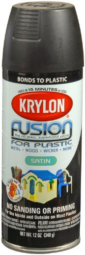 Krylon 2421 Fusion Spray Paint, Satin Black (Black Spray Paint Plastic compare prices)