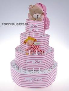windeltorte 4 st ckig rosa mit namen und spieluhr b r und schutz engel geschenk zur taufe. Black Bedroom Furniture Sets. Home Design Ideas