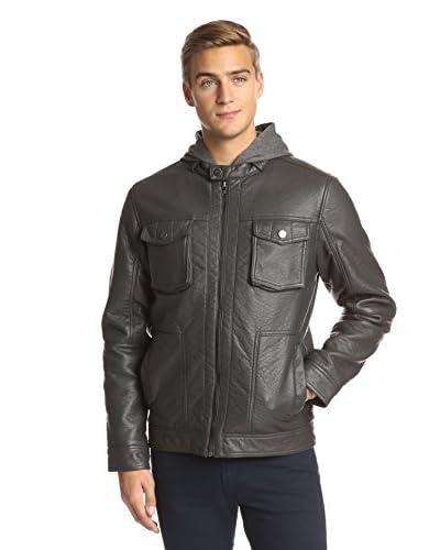 Sean John Men's PU Jacket with Detachable Knit Hood