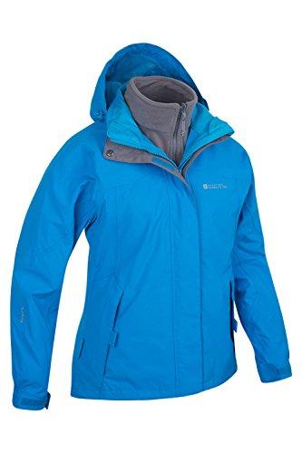 Mountain Warehouse Damen Storm 3 In 1 Wasserdichte Regenjacke Fleece Mantel Jacke Neu Multifunktionsjacke Regenjacke Türkis DE 38 (EU 40) -