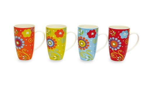 Maxwell & Williams Flower Power 14-Oz. Mug - Set Of 4 - Gift Boxed