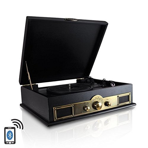 Pyle PTT30BK Bluetooth Vintage Classic Style Turntable Wireless Music Streaming, AM/FM Radio, USB Record Ability, AUX (3.5mm) Input 0