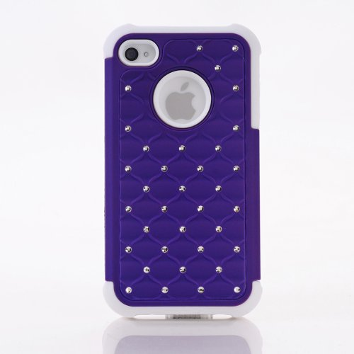 Meaci® Iphone 4 4S Case 2 In 1 Combo Hybrid Case Glitter/Bling Studded Diamond Dual Layer Pc&Silicone Protective Case 1X Diamond Anti-Dust Plug Stopper(Random Color) (Purple)