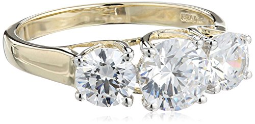 10k Yellow Gold Three-Stone Ring Made with Swarovski Zirconia (2 cttw), Size 8