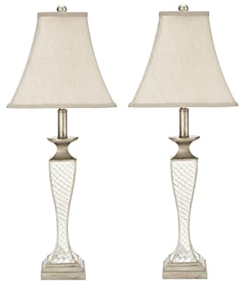 Safavieh Lighting Collection Kailey Silver Glass Lattice 28-inch Table Lamp (Set of 2)
