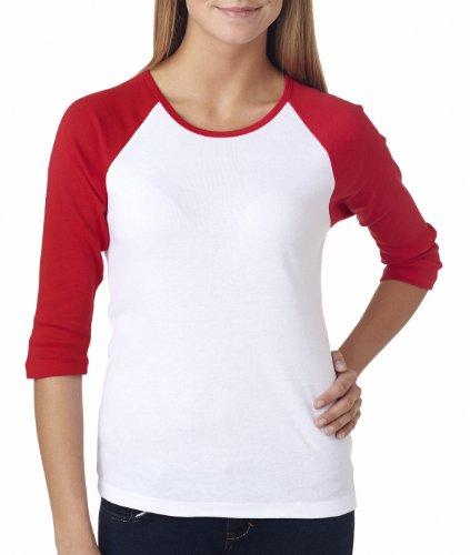Bella Ladies B2000 1X1 Baby Rib 3/4-Sleeve Contrast Raglan T-Shirt - White/Red - Xl front-931846