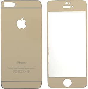 Mayur Tempered Glass Front and Back Mirror Screen Guard for I Phone 5 (Gold)