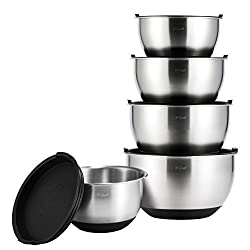 Mixing Bowls Set, X-Chef Professional Stainless Steel Mixing Bowls With Lids, Measurement Lines, Set of 5 Christmas Gift