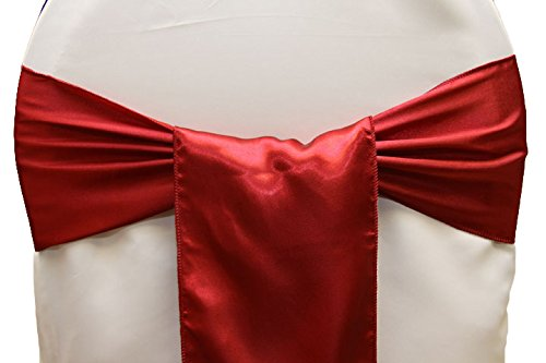 Mds Set of 100 satin chair sashes bow for wedding and Events Supplies Party Decoration chair cover sash -Apple Red
