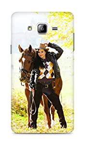 Amez designer printed 3d premium high quality back case cover for Samsung Galaxy ON7 (Equestrian with her horse in autumnal nature)