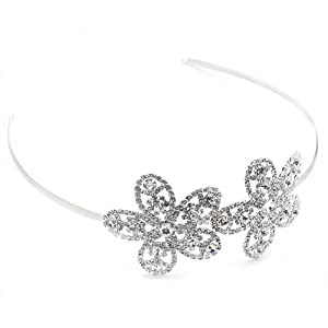 Wedding Headband Bridal Rhinestone Double Side Flower Hair Accessory