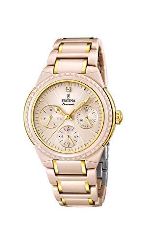 Festina F16699/3 - Reloj de pulsera mujer, cerámica, color beige