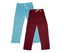 IndiWeaves Women Super Combo Pack 4 (Pack of 2 Lower/Track Pant and 2 T-Shirt)_Turquoise::Maroon::Red::Gray _XXL
