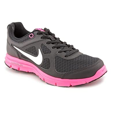Nike Girls Youth Lunar Forever (GS) Running Shoes-Black/White/Pink-4