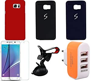 NIROSHA Tempered Glass Screen Guard Cover Case Mobile Holder Charger car for Samsung Galaxy Note 5 - Combo