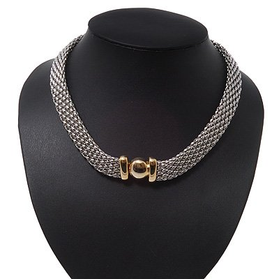 Two-Tone Mesh Magnetic Choker Necklace - 36cm Length