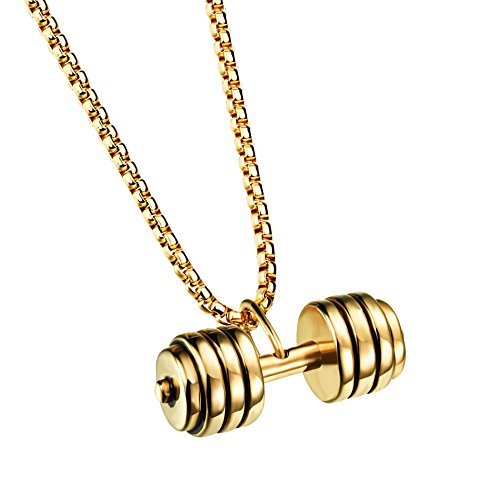 His and Hers Couples 316L Stainless Steel Sports Fitness Dumbbell Pendant Necklace (B-male gold)