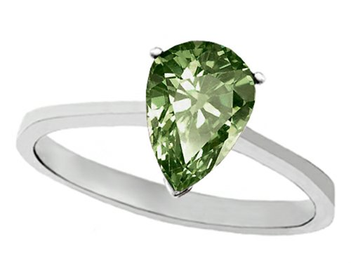 Tommaso Design(Tm) Genuine Green Sapphire Pear Shape 8X6Mm Solitaire Engagement Ring In 10 Kt White Gold Size 6.5