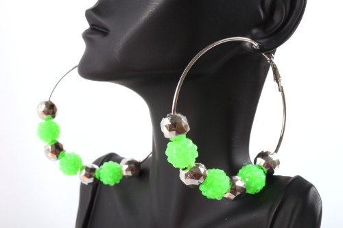 Neon Green Shamballah 2.5 Inch Hoop Earrings with 3 Disco Balls and 4 Plated Balls Basketball Mob Wives Iced Out Lady Gaga Poparazzi