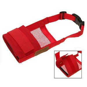"How's Your Dog Soft Mesh Breathable Adjustable Dog Muzzle - Red/L (7"" - 8"" Nose)"