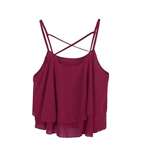 Amlaiworld Gilet donna,Cinghia irregolare camicia in Chiffon stampa floreale Camisole Vest ( vino rosso)