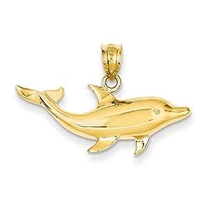 14k Gelb Gold Delphin Anhänger
