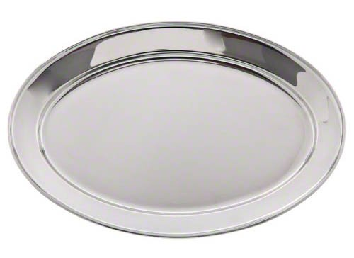 Update International Op-16 Heavy Weight Stainless Steel Oval Platter, 15-3/4 By 10-1/2-Inch