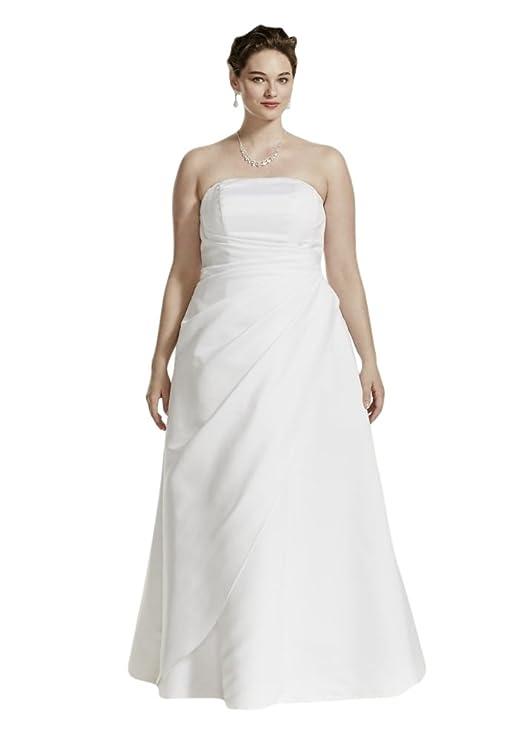 Satin Asymmetrical Skirt Plus Size Wedding Dress Style 9T8076, White, 22W