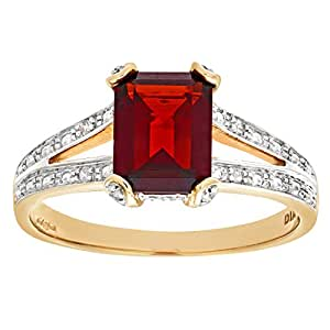 Naava 9ct Yellow Gold Single-Stone Garnet with Diamond Set Collette and Shoulders