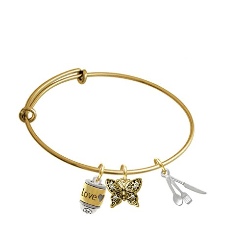 Fork Knife And Spoon Gold Tone Butterfly Expandable Bangle Bracelet