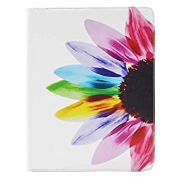 WONE Cartoon Cute PU Leather Flip Case with Cards Slots for Apple iPad 2/3/4 (Rainbow Flower)