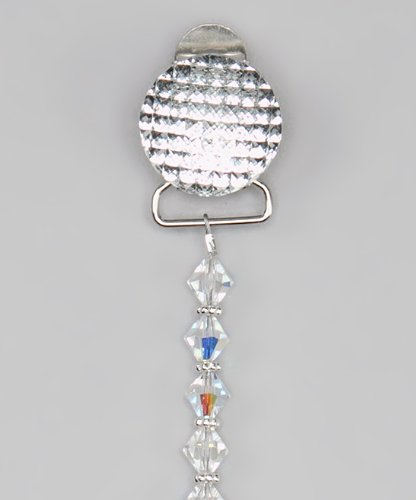 Quilted Sparkly Crystals with Swarovky Crystals Pacifier Clip (Clear)