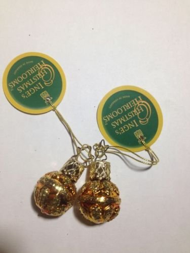 Mini Gold Balls Set of 2 #1-673-01 by Inge-Glas of Germany – Christmas Tree Ornament