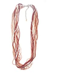 Jewel Plus Multi Row Multi Colour Beads Necklace Beige , White And Brown