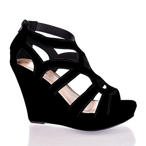 Ella15 Black Nub Open Toe Caged Cut Out Gladiator Platform Wedge Heel Sandals-8 front-861066