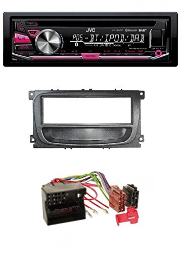 JVC-CD-MP3-DAB-USB-Bluetooth-Autoradio-fr-Ford-Focus-C-Max-S-Max-Galaxy-Mondeo-ab-2007-schwarz