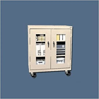 Sandusky Lee TA2V362442-04 Elite Series Transport Mobile Clear View Counter Height Storage Cabinet, Tropic Sand