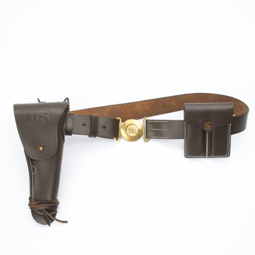U.S. WWII M1916 .45cal 1911 Pistol Leather Holster, Belt, Ammo Pouch Set