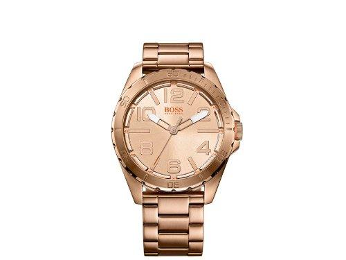 Boss  - Reloj de cuarzo para hombre, correa de acero inoxidable chapado color oro rosa