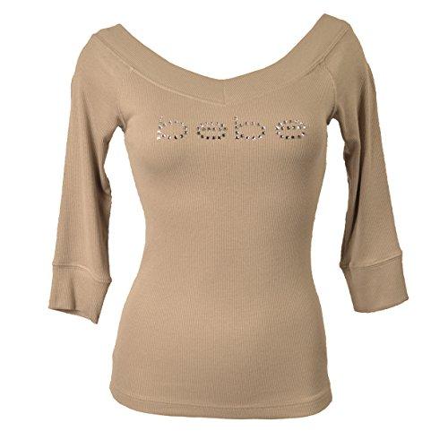 bebe-3-4-sleeve-double-v-neck-logo-tee-top-crystals-t-shirt-ribbed-s-beige-xuc