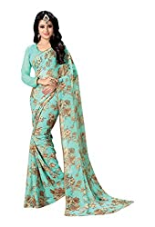 Aishwarya Women's Georgette Saree with Blouse Piece (Blue)
