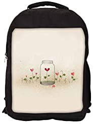 Snoogg Bottles And Flowers Backpack Rucksack School Travel Unisex Casual Canvas Bag Bookbag Satchel